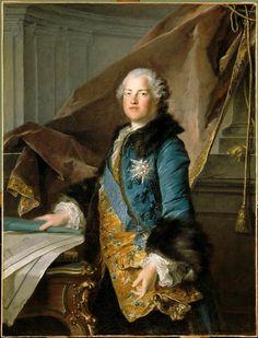 Louis Tocqué, Portrait of Abel-François Poisson, monsieur de Vandières, marquis de Marigny, Directeur Général des Bâtiments du Roi (1727-1781), représenté présentant les plans de l'Ecole Militaire de Parisen, 1755, (Versailles)