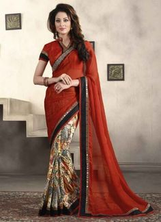 Distinctive Rust And Multi Color Half N Half Georgette Embroidery Work Party Wear Sarees