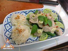 Authentic Thai recipe for Rice Vermicelli Garlic Lime Pork, 'Sen Mee Pad Kratiem Moo Manao' from ImportFood.com.