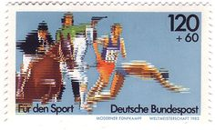 Graphic design artifacts and visual inspiration from the - Pentathlon Moderne, German Stamps, Stamp Collecting, Postage Stamps, Germany, Poster, Graphic Design, Glitch, 1980s