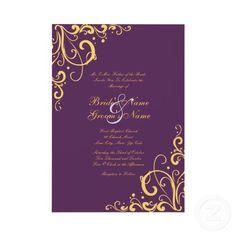Purple and Yellow Flourish Wedding Invitation invitation