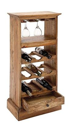 Deco 79 Wood Wine Rack 19 by * See this great product. (This is an affiliate link) Wooden Wine Holder, Wood Wine Racks, Woodworking Projects Diy, Diy Projects, Home Decor Shelves, Wine Time, Wood Furniture, Trays, Shoe Rack