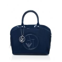 Women's Armani Jeans Patent Bugatti Shopper Bag ($185) ❤ liked on Polyvore featuring bags, handbags, tote bags, navy, zippered tote bag, navy tote bag, navy blue tote bag, summer totes and zip tote
