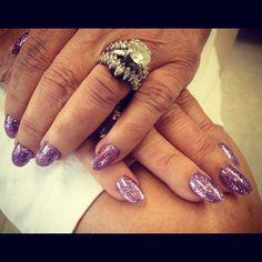 Purple nails , rock star gel