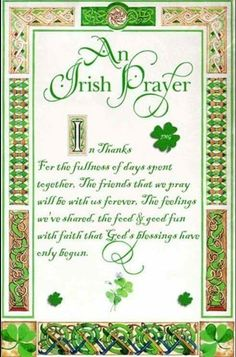 An Irish Prayer and Blessing among friends