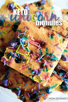 Keto Unicorn Blondies Made from scratch by my daughter's request! Made with a chewy blondie base, colored keto white chocolate chips, and sugar free sprinkles, these are such a fun dessert! Sugar Free Desserts, Fun Desserts, Dessert Recipes, Snack Recipes, Healthy Desserts, Snacks, Keto Bagels, Keto Biscuits, Keto Cookies