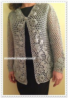 Irish Crochet, Crochet Motif, Crochet Lace, Cardigan Au Crochet, Hand Embroidery Patterns Flowers, Baby Knitting Patterns, Crochet Clothes, Pull, Projects