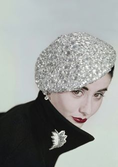 Photo by Erwin Blumenfeld (1951) Really fun twist on a classic beret - covered in rhinestones.