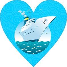 4in x 4in Cruise Ship Heart Bumper Sticker Car Vinyl Decal Truck Stickers