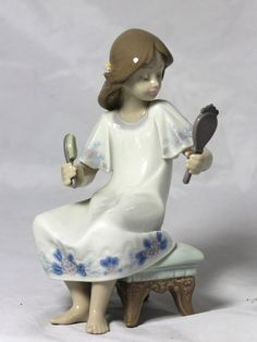 pretty antique figurines | Sale Vintage Lladro I FEEL PRETTY Figurine Girl with Mirror Brush ...