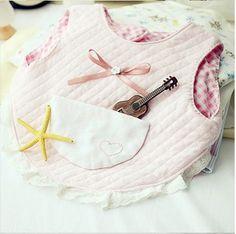 Lovely pink cotton baby bib