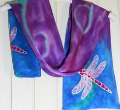 Hand Painted silk Dragonfly scarf in pink blue by SilkenTreasures, $38.00