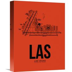 Naxart Studio 'las Las Vegas Airport Orange' Stretched Canvas Wall Art
