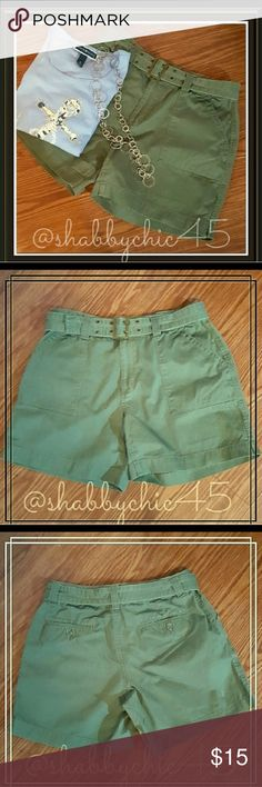 Belted Khaki High Rise Shorts from Dress Barn FIRM EUC Dressbarn belted shorts in army green khaki. These shorts are in excellent condition and are like new. This neutral colors will blend with almost anything.  Tuck in a form fitted t-shirt or where a cute sleeveless button down with your favorite pair of sandals. The possibilities are endless.   Smoke free/dog friendly home. Price is firm, no offers accepted. Discount available when bundling. Dress Barn Shorts
