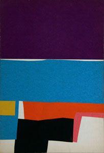 "Ralph Coburn American, born 1923 Collage, Sanary c. 1952 Paper, 12 x 8"""