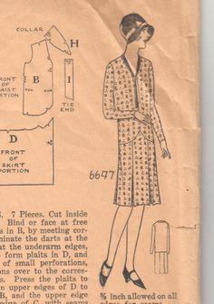 Antique Sewing Pattern 1920's Ladies Flapper Dress by Mrsdepew, $45.00