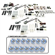4-Door Power Window Kit w 7 Daytona Billet Switches-Blue Illumination