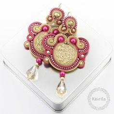 Pendientes colgantes - Exclusive beige soutache kolczyki - hecho a mano por Kavrila en DaWanda