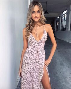 Sexy Deep V Neck Summer Women Dress Split Cross Print Flower Summer Elegant  Dress Spaghetti Strap 0193e4777616