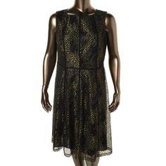 Anne Klein Womens Plus Metallic Lace Cocktail Dress