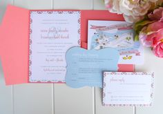 Custom Pattern Wedding Invitation with Pocket by JPressDesigns