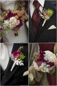 Hydrangea, cottage yarrow, scabiosa, celosia, dusty miller and berries.  Photo Credit: Brandy J Photography