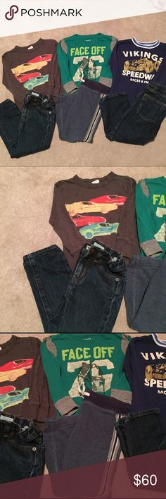 Boys 6 PC Crewcuts lot 3T Lot includes 3 long sleeve graphic tees, two pairs of straight jeans with adjustable waist and 1 track sweatpant. crewcuts Other