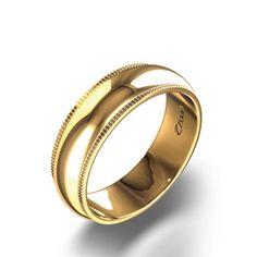 Milgrain Wedding Band in 14k Yellow Gold