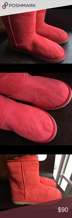 UGG Australia Classic Short Red Boots size 6 ❤️ Authentic in ribbon red color, retails for $160 received them as a gift but they are too small there is some creasing from not standing upright but otherwise good condition!  feel free to ask any questions sorry no trades UGG Shoes Winter & Rain Boots