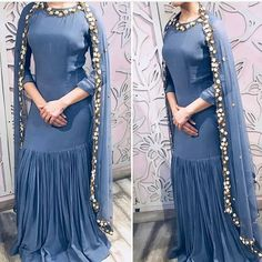 Image may contain: people standing Designer Party Wear Dresses, Kurti Designs Party Wear, Indian Designer Outfits, Kurta Designs, Stylish Dress Book, Stylish Dress Designs, Stylish Dresses, Fashion Dresses, Simple Dresses