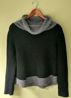 0d914e63576 Eileen Fisher Yak Wool Blend Cowl Neck Sweater Black Gray Sz Petite Medium  PM