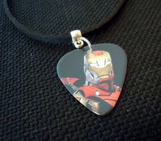 Iron Man Guitar Pick and Black Suede Cord Necklace by ItsYourPick on Etsy