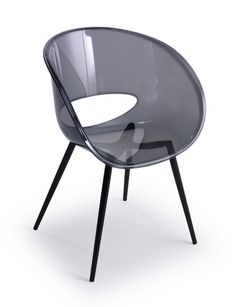 I LOVE the smoke gray transparent Eye Space chair with black lacquered tubular steel legs.
