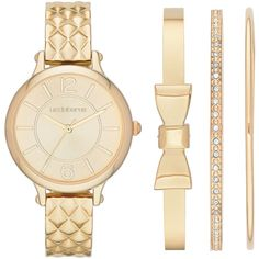 Liz Claiborne Womens Quilt-Look Bangle Watch and Bangle Set ($56) ❤ liked on Polyvore featuring jewelry, watches, liz claiborne, wide bracelet, water resistant watches, bangle set and bangle watches