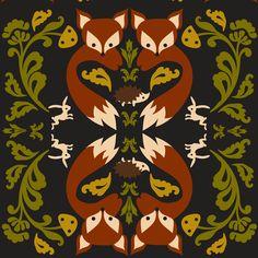 Ornate Fox Black fabric by boredinc on Spoonflower - custom fabric