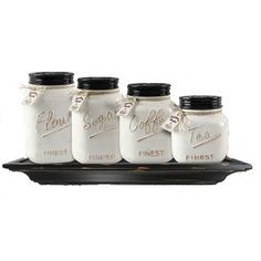 Off White Canister Mason Jar Set Of 4  Country Charm Kitchen Glamorous Kitchen Jar Set 2018