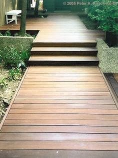 Los Angeles Modern Wood Deck - stairs, yes Wood Walkway, Wood Arbor, Front Walkway, Wood Path, Wood Steps, Timber Deck, Sloped Garden, Wooden Decks, Decks And Porches