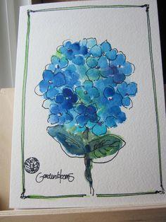Blue Hydrangea Bloom Watercolor card by gardenblooms on Etsy