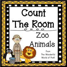 Count The Room - Zoo Animals - Differentiated Jungle Activities, Preschool Jungle, Kindergarten Math Activities, Animal Activities, Preschool Classroom, Preschool Spanish, Preschool Curriculum, Preschool Ideas, Classroom Ideas