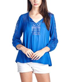 Another great find on #zulily! Royal Blue Tie-Accent V-Neck Top #zulilyfinds