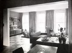 Designers Robin and Lucienne Day's living room in London, 1950s/60s.