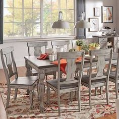 Eleanor Grey Two-tone Wood Butterfly Leaf Extending Dining Set - 7pc Set 1 table with 6 Chairs