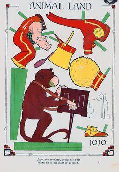 https://flic.kr/p/8Mxhmf | Vintage Paper Doll, Monkey