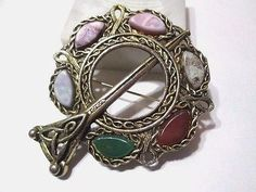 Good SCOTTISH PENANNULAR STYLE PIN BROOCH LARGE FAUX GEMSTONE ELABORATE SCOTLAND