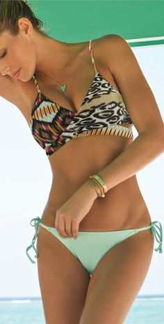 Bathing suit/ bikini/ 2014 cute. Really like the bathing suit top style on this one...mint bottom & animal print/ wild side top.