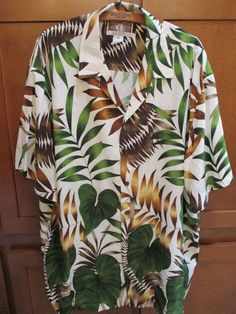 b4ac7726d Details about Natural Issue Brand Hawaiian Aloha Shirt 100% Rayon Sz XL Palm  Leaves Hibiscus