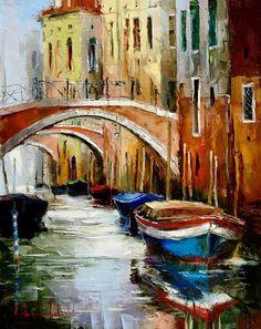 Venice Bridges (2006) - 31 x 24 Original Oil on Canvas