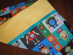 Magic Pillow Case Robots with Yellow Cuff and by BeBeBeez on Etsy