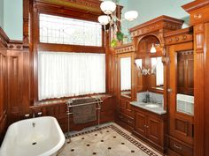 This type of wooden surround would look great for a bath tub!