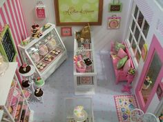 "Its the Little Things: {""A Little Slice Of Heaven"" Mini Bakery}-inspirations for dolly bakery-display shelves, seating area, wall decor. take out boxes..."